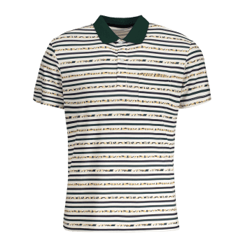 Striped Pocket Mens Polo Shirt - WHITE WHITE