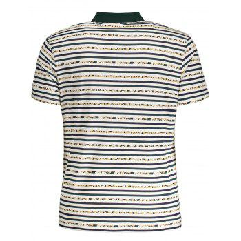 Striped Pocket Mens Polo Shirt - WHITE XL