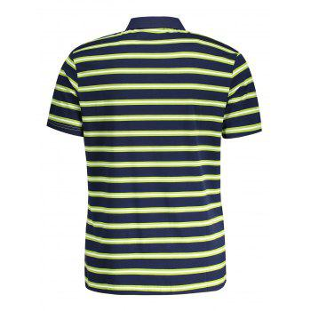 T-Shirt Polo à Rayures pour Homme - Herbe Verte L