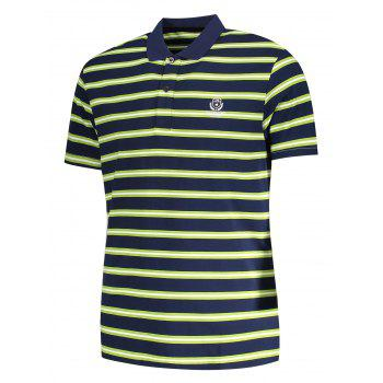 Striped Mens Polo Shirt - GRASS GREEN 2XL