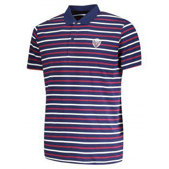 Stripe Mens Polo Shirt - PURPLISH BLUE PURPLISH BLUE
