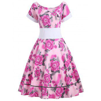 Flower Print Empire Waist 50s Swing Dress - TUTTI FRUTTI L