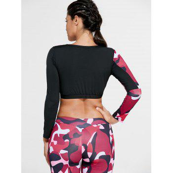 Sports Camouflage Printed Long Sleeve Crop Tee - RED L
