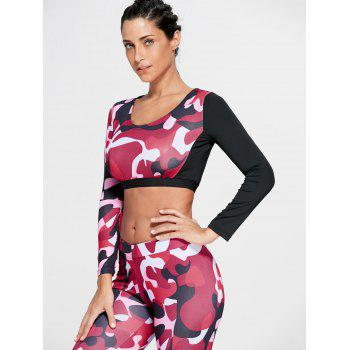 Sports Camouflage Printed Long Sleeve Crop Tee - RED M
