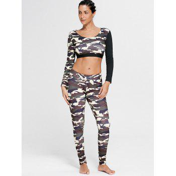 Sports Camouflage Printed Long Sleeve Crop Tee - DUN L