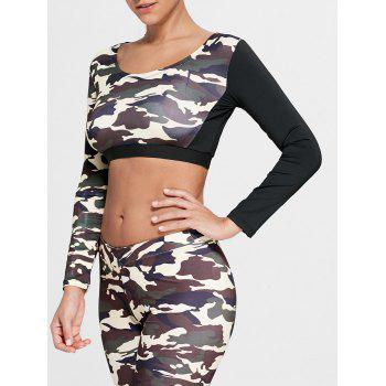 Sports Camouflage Printed Long Sleeve Crop Tee