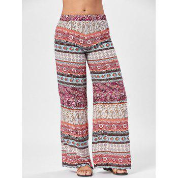 Totem Floral Print Wide Leg Pants - COLORMIX ONE SIZE