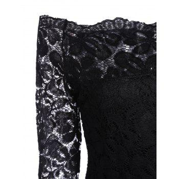 Off Shoulder Long Sleeve Lace Dress - BLACK BLACK