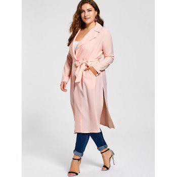 Plus Size Tie Belt Trench Coat - ORANGEPINK 2XL