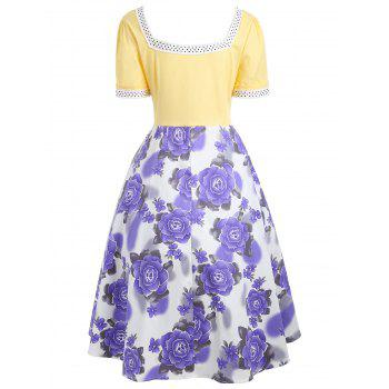 Sweetheart Neck Flower Print 50s Swing Dress - S S