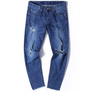Tapered Fit Zip Fly Jeans with Knee Rips - DENIM BLUE DENIM BLUE