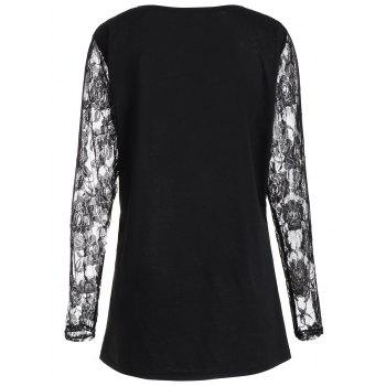 Plus Size Lace Panel Angel Print Top - BLACK BLACK