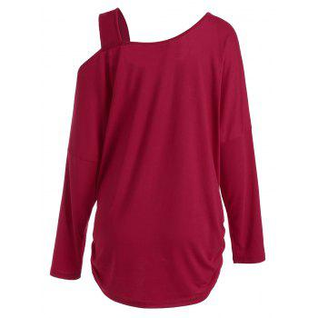 Plus Size Butterfly Skew Neck Drop Shoulder Top - RED RED
