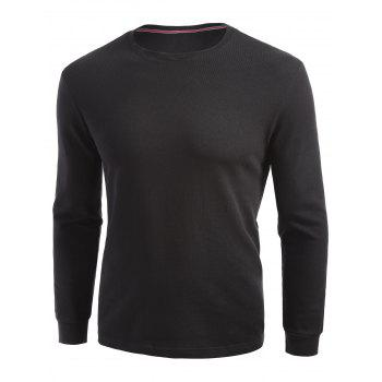 Plain Cuffed Long Sleeve T-shirt - BLACK BLACK