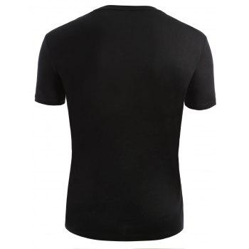 Ribbed Neck Short Sleeve T-shirt - 2XL 2XL