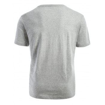 Ribbed Neck Short Sleeve T-shirt - GRAY GRAY