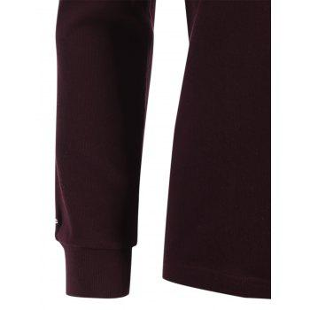 Plain Cuffed Long Sleeve T-shirt - CLARET CLARET