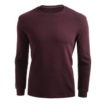 Plain Cuffed Long Sleeve T-shirt - 2XL 2XL