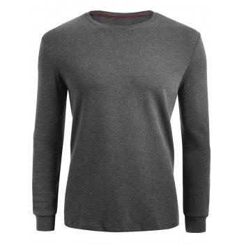 Plain Cuffed Long Sleeve T-shirt - HEATHER GRAY 2XL