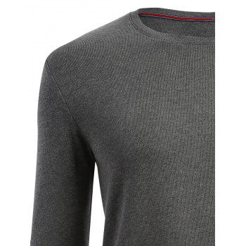 Plain Cuffed Long Sleeve T-shirt - HEATHER GRAY HEATHER GRAY