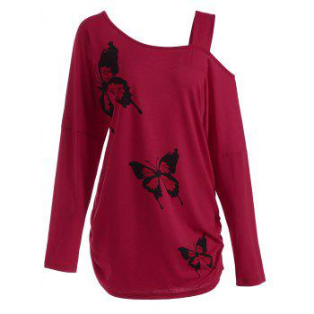 Plus Size Butterfly Skew Neck Drop Shoulder Top - RED 4XL