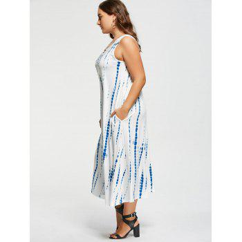 Plus Size Tie-Dyed Sleeveless Maxi Dress - WHITE 3XL