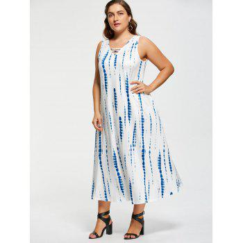 Plus Size Tie-Dyed Sleeveless Maxi Dress - WHITE 5XL
