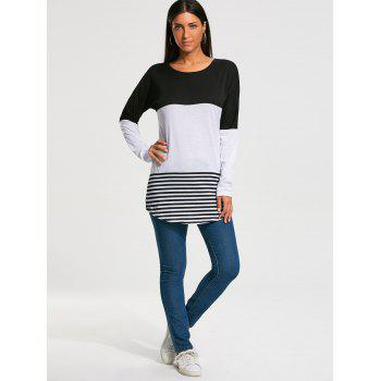 Long Sleeve Color Block Striped T-shirt - S S