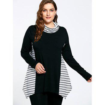 Stripe Panel Plus Size Turtleneck Asymmetric T-shirt - COLORMIX 2XL