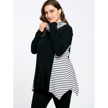 Stripe Panel Plus Size Turtleneck Asymmetric T-shirt - COLORMIX COLORMIX