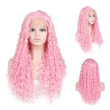 Women Trendy Free Part Fluffy Long Curly Lace Front Synthetic Wig -  PINK