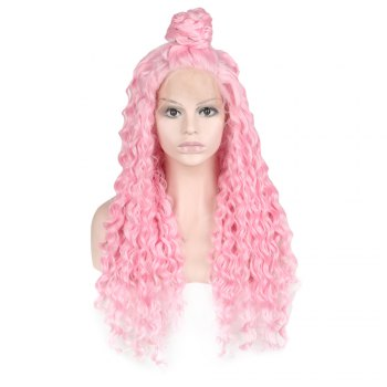 Women Trendy Free Part Fluffy Long Curly Lace Front Synthetic Wig - PINK PINK