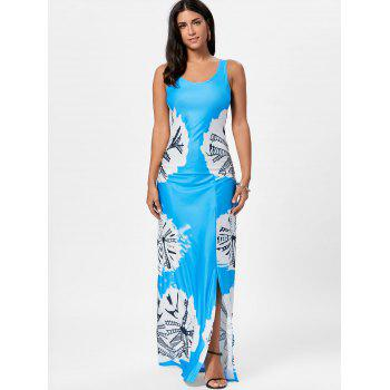 Long Slit Tie Dye Tank Dress - Bleu L