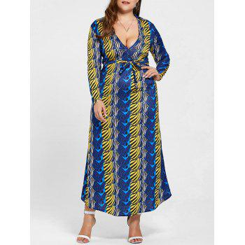 Floor Length Long Sleeve Printed Plus Size Dress - BLUE BLUE