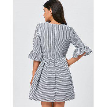 Flounce Sleeve Seersucker Striped Dress - BLACK BLACK
