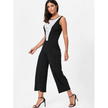 Sleeveless Two Tone Wide Leg Jumpsuit - WHITE/BLACK S