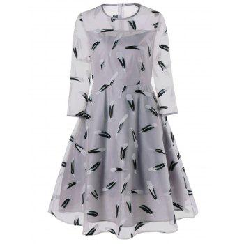 Feather Print See Thru Fit and Flare Dress - GRAY GRAY