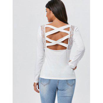 Lace Insert Cross Back Long Sleeve Tee - WHITE S