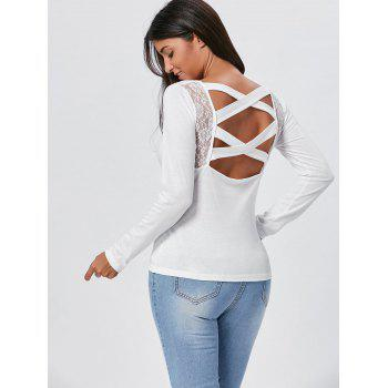 Lace Insert Cross Back Long Sleeve Tee - WHITE WHITE