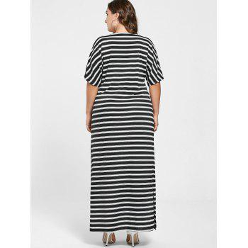 Pus Size Striped Slit Maxi Dress - BLACK STRIPE BLACK STRIPE