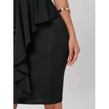 Cold Shoulder Bodycon Peplum Dress - BLACK L