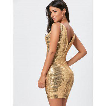 Glitter Sequins Bandage Dress - GOLDEN GOLDEN