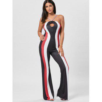 Striped Keyhole Spaghetti Strap Jumpsuit - RED RED