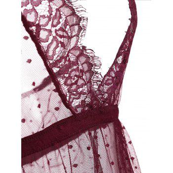 Lace Trim Mesh Sheer Babydoll - WINE RED WINE RED