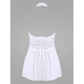 Halter Lace Backless Sheer Babydoll - WHITE WHITE