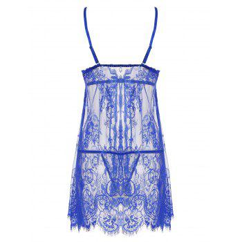 Lace Sheer Split Slip Babydoll - BLUE BLUE