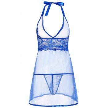 Low Cut Sheer Lace Insert Babydoll - BLUE BLUE