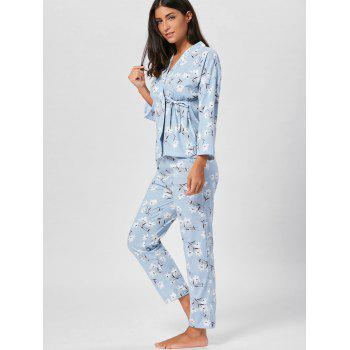 Wrap Floral PJ Set with Sleeves - BLUEBELL BLUEBELL