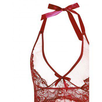 Low Cut Sheer Lace Insert Babydoll - WINE RED WINE RED