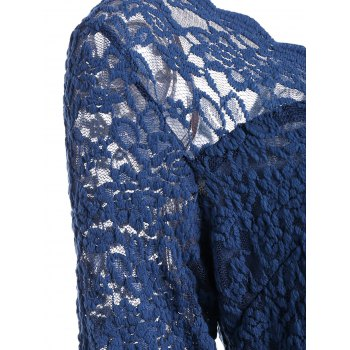 V Neck Lace Panel Pin Up Dress - BLUE BLUE